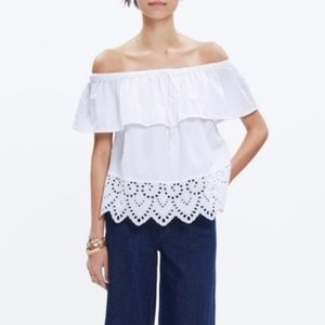 Madewell Eyelet Balcony Off the Shoulder Top Ruffl